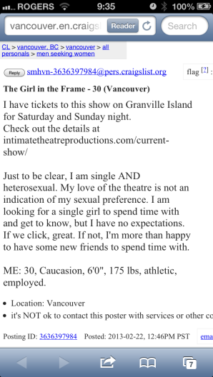 Someone's using the show to get a date...AWESOME!!!